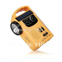 Wholesale Solar radio flashlight hand crank flashlight radios manual mobile phone charger alarm car outdoor equipment
