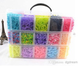 Wholesale New Rainbow loom bands kit clear big plastic box for Kids DIY Bracelets bands chips charms hooks boards floor box Y