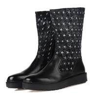 Wholesale Five star pattern sequined black mens winter boots genuine leather mens motorcycle shoes casual boots mens snow boots warm
