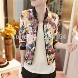 Wholesale Women Coat Autumn New Korean Wild Floral Stand Collar Long sleeved Female Jacket Zipper