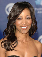 Wholesale Graceful African American Celebrity Hairstyle Long Curly Human Hair Lace Wig about Inches