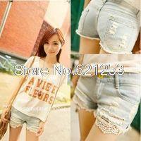 Women Regular Zipper Fly Summer Lace Trimming Denim Shorts Hole Short Pants Ripped Jeans for Women 1030