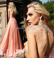 Reference Images Halter Chiffon Tarik Ediz Sheer Prom Dresses Chiffon Peach Sexy Criss Cross Halter A Line Floor Length Beaded Cap Sleeve Long Backless Evening Gowns 755