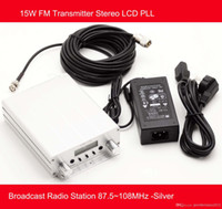 Wholesale W FM Transmitter Stereo LCD PLL Broadcast Radio Station MHz Silver