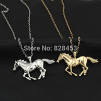 Wholesale 2014 New Fashion Men Women Jewewlry Gold Silver Tone Jewelry Running Horse Pendant quot Necklace EA62