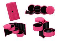 Wholesale Fashion Three Tier Round Portable Multi Function Jewelry Box Jewelry Storage Quality Flannel Jewelry Storage Box