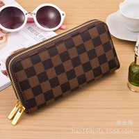 Wholesale The new European and American style fashion Korean multicolor double zipper wallet clutch wallet phone package