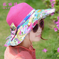Wholesale 2014 summer new fashion national wind spell color fabric bow large brimmed hat lady straw hat child a8