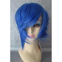 Wholesale Custom Cosplay Wigs Freestyle Hairline Synthetic Hair Short Blue Anime Wigs Hot Sale