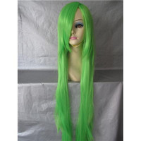 Wholesale 100cm Long Straight Remy Cosplay Wig Green Synthetic Hair Customized Accept