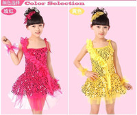 ballet apparel - 6set Child girls Latin Ballet Costume Dress Skirt One Shouder Strap Party Show Apparel tls004