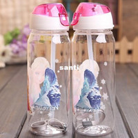 Wholesale Fashion Hot FROZEN plastic water bottle kids cartoon drinkware children straw cups cute cup tea kettle gift