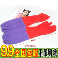 Wholesale Long thick velvet warm winter home in household latex gloves beam port laundry housework gloves with long sleeves