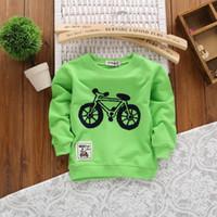 Wholesale Vogue Children T shirt Cotton Long sleeved T shirt Tops Bike Cartoon Children Sweater Girl T Shirt Tees