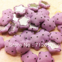 Quilt Accessories Buttons E&F Accessories 16mm Flatback Dots print cloth covered button star-shaped fabric covered buttons VIO 30pcs lot hairbow accessories Free shipping