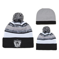 Wholesale Grey Raiders Beanies Fashion Football Caps Newest Team Beanie Hats Top Quality Pom Pom Beanies Skull Cap Cheap Knitted Hats Fashion Team Hat