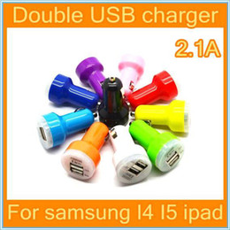 DHL-1000pcs Dual Port USB Car Charger USB Adapter 2100mah Colorful Car Charger for ipad iPhone 6 6G 5 5C 5S 4S Samsung