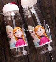 Wholesale New Arrive FROZEN plastic water bottle kids cartoon drinkware children straw cups cute cup tea kettle gift