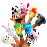 Unisex 0-12 Months Gray 10 pcs 1set Mini Cute Baby Plush Toy Finger Puppets Tell Story Props(10 animal group) Animal Doll Kids Toys Children Gift