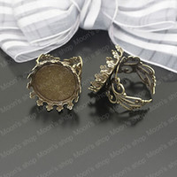 Wholesale Brass Antique Bronze MM Lace edge Round Cabochon Adjustable Rings Base Blank DIY Setting