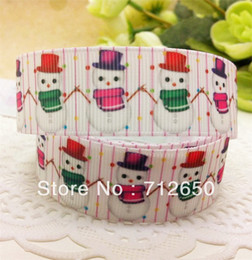 Wholesale mm Snowman printed ribbon Polyester Grosgrain ribbon gift package DIY hairbow accessories