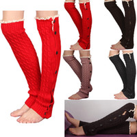 Wholesale Fashion New Womens Crochet Lace Trim Twist Button Down Braid Leg Knit Warmers Boot Socks Knee High Colors Drop Shipping