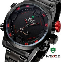 Wholesale 2014 WEIDE Military Watches Men Full steel Watch Sports Diver Quartz Wristwatch Multi function LED Display month Guarantee