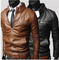 Stand Collar fashion leather jacket - 2015 Men s PU Leather Jacket Fashion Transverse Slim Fit Leather Jackets For Men Top Quality For Men Color Plus Size M XXXL