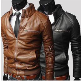 Wholesale 2015 Men s PU Leather Jacket Fashion Transverse Slim Fit Leather Jackets For Men Top Quality For Men Color Plus Size M XXXL