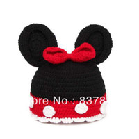 Cheap Wholesale-Lovely Black Mouse Newborn Baby Toddler Cotton Velvet Knitted Beanie Hats Caps Handmade Crotchet Photography Props Costume