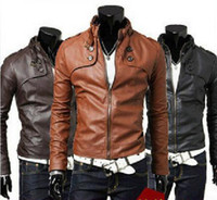 Wholesale Leather Splice Short Sleeve - New Men's PU Leather jacket Men Water wash Motorcycle leather jacket outerwear PU 3 color 4 size M L XL XXL Free Shipping