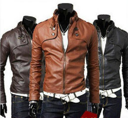 Wholesale New Men s PU Leather jacket Men Water wash Motorcycle leather jacket outerwear PU color size M L XL XXL