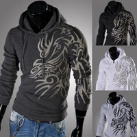 sport hoodies - 2014 Spring Fashion New Hoodies Sweatshirts Dragon Printed Outerwear Hoodies Clothing Men Outdoor Hoodies Men Boys Sports Suit