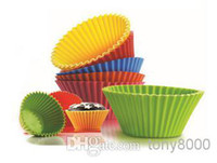 Wholesale SET Round Silicone Muffin Cake Cupcake Cup Cake Mould Case Bakeware Maker Mold Tray Baking