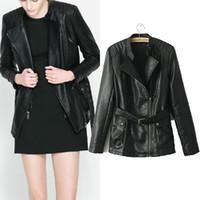 Wholesale New Wild Women s Zipper Belt Black PU Leather Jacket Turndown Collar Lady Jaqueta Couro Motorcycle Outerwear Brand Clothing