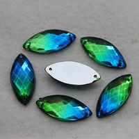 Wholesale mm Blue green color Acrylic Horse Eye sew on loose rhinestone silver base flatback crystal GJ1