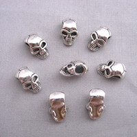 Wholesale 100pcs Antique Silver Alloy Skull Big Hole Charm Beads Fit Bracelet mm hole dia mm