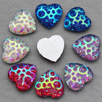 Wholesale 14mm Mix Color Superior Taiwan Acrylic Flat Back Rhinestones Heart Shape Pattern Crystal Acrylic Rhinestone