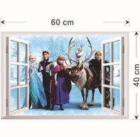 Wholesale 2014 FROZEN Elsa Anna PRINCESS D Window View Cartoon Decal WALL STICKER PVC Home Decor X60cm