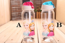 Wholesale 2014 High Quality drinkware Frozen Anna and Elsa PP Texture Cute Suction cups kids cartoon water bottle sports bottle