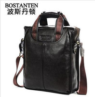 Wholesale 2014 new Bostanten hot business male portfolios mens brand name vintage cowhide Genuine leather men handbag briefcase shoulder bag