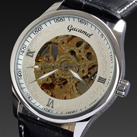 Wholesale Dropship famous brand name Gucamel winner fashion genuine leather auto steel case hand wind men watch mechanical automatic