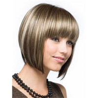 Wholesale Bob Hairstyle Mix Color Synthetic Wig Short Straight Fashion Wig with Full Bangs Soft Touch Quality Wig