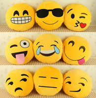 Wholesale 10 Styles Cushion Cute Lovely Emoji Smiley Pillow Cartoon Facial QQ Emotion Pillows Yellow Round Cushions Stuffed Plush Toy Gift For Kids