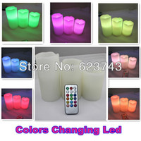 Wholesale set colorful Flameless LED candle light Remote Control Pillar Wax LED Candle lamp Color changing tea light
