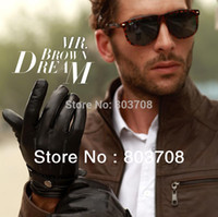 Wholesale 2014 Men Leather Gloves Screen Touch Gloves For Iphone Ipad Mobile Winter Conductive Gloves