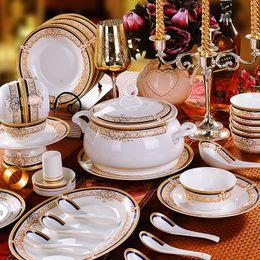 China réglé 56 à vendre-Vaisselle en céramique de qualité 56 pcs porcelaine vaisselle vaisselle cadeau domestique A1001