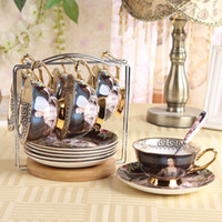 Wholesale Four Fuou retro bone china mugs suit creative British ceramic coffee cup and saucer with spoon rack