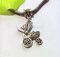 Bead Caps Fashion Beads 80pcs Antique Silver Plated Baby Cart Dangle Bead for European Bracelet Charm Pendant for Jewelry Making Handmade 36x17mm