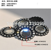 Wholesale yards black plastic rhinestone trimming with clear crystals and glass round in black base